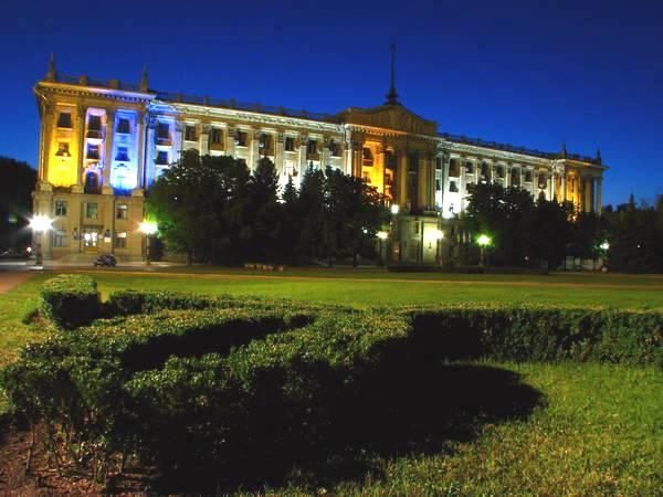 Николаев Соборная площадь ночью